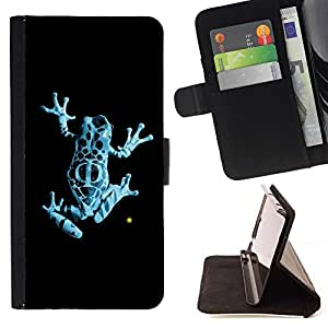 DEVIL CASE - FOR Samsung Galaxy A3 - Neon Blue Jungle Fringe Frog - Style PU Leather Case Wallet Flip Stand Flap Closure Cover