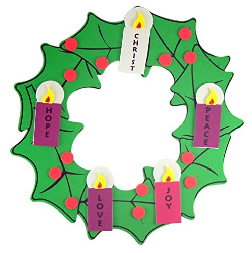 Advent Crafts Christmas (Christmas Arts & Crafts Kit for Kids Foam Hanging Advent Wreath)