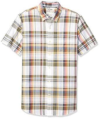Goodthreads Amazon Brand Men's Standard-Fit Short-Sleeve Lightweight Madras Plaid Shirt, White Olive Plaid, X-Small