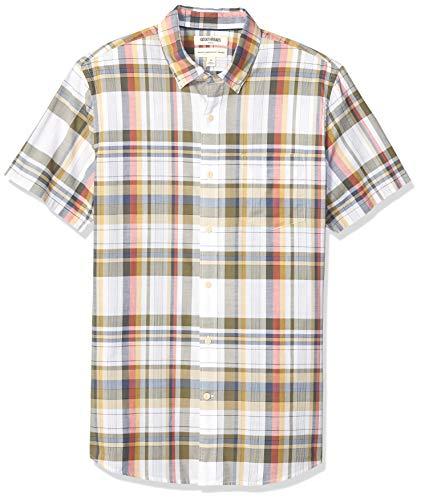 Goodthreads Men's Standard-Fit Short-Sleeve Madras Shirt, White Olive Plaid, X-Large