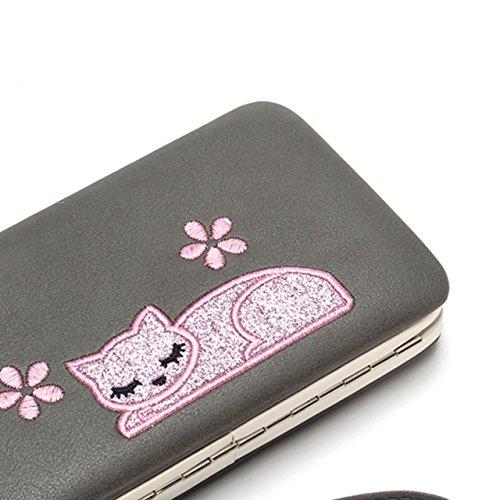 Vandot 3D Cute Niña de las Flores Diseño Cartera de Embrague de Teléfono para Mujer PU Cuero Pequeña Cremallera Monedas Dinero Bolsillo Tarjeta Titular Organizador Multipurpose Phone Wallet Clutch Cas Cat 5