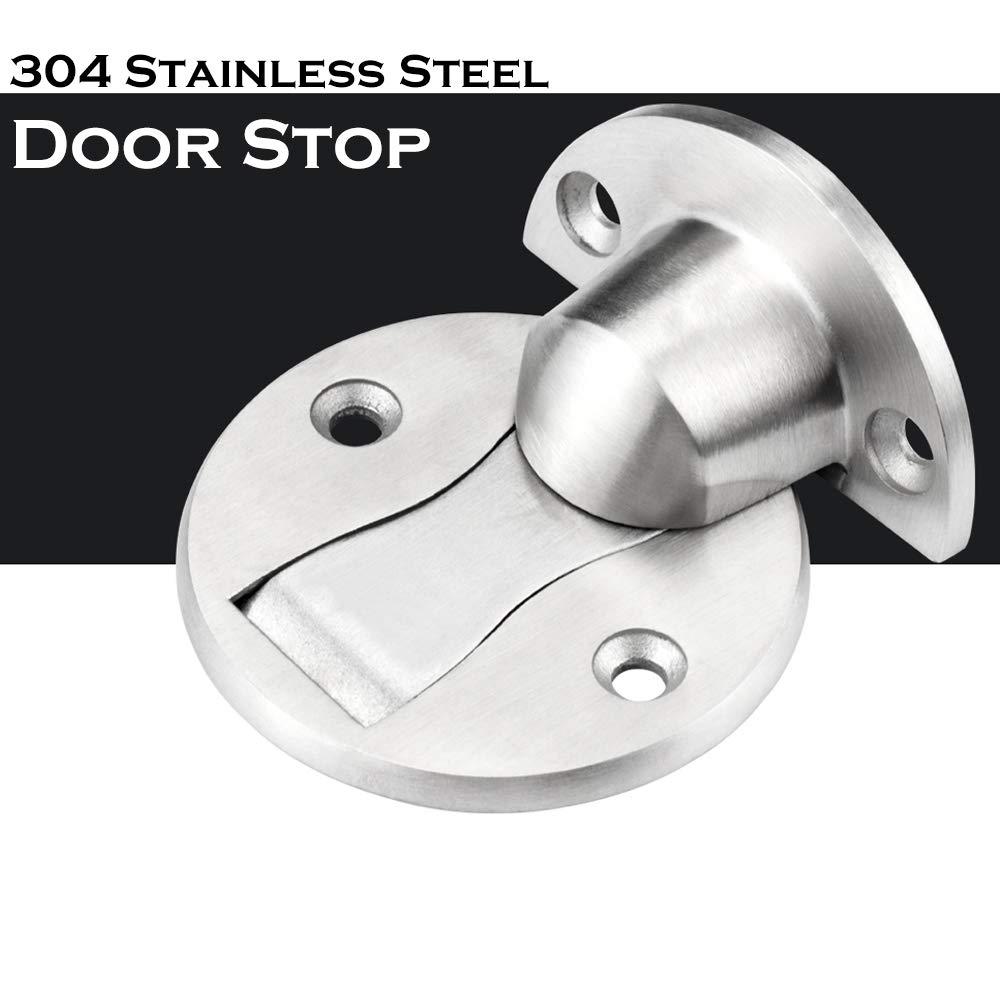 SIZIMA Door Stopper 304 Stainless Steel Magnet Metal Door Catch Holder Heavy Duty Brushed Finish with Screw Mount 2 Pack Magnetic Door Stop