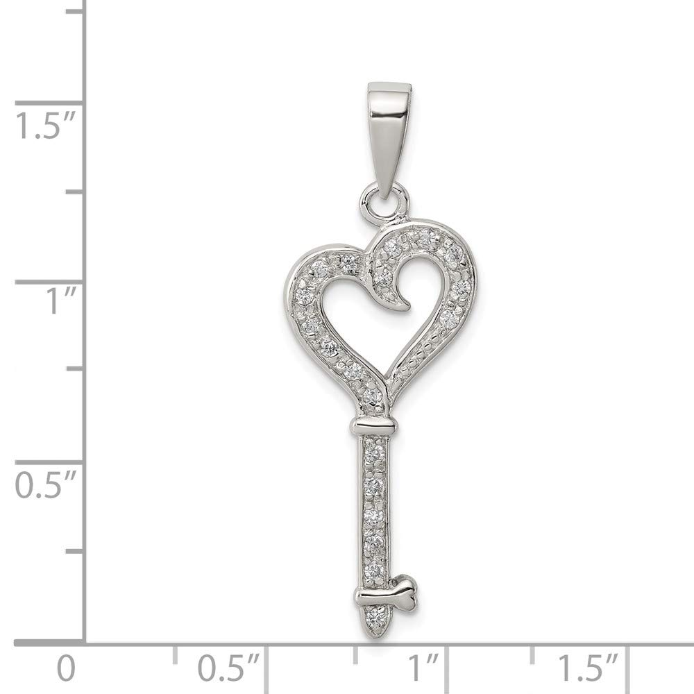 Sterling Silver Rhodium Plated Synthetic CZ Heart Key Pendant