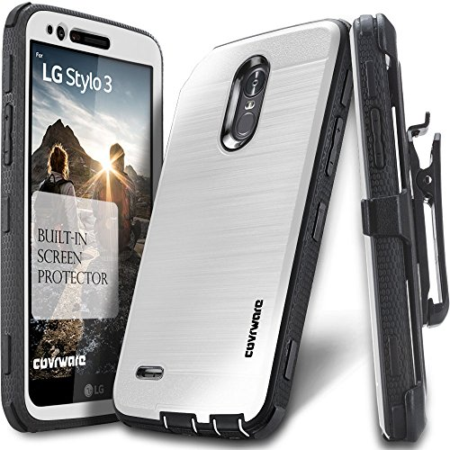 LG Stylo 3 / Stylo 3 Plus Case, COVRWARE [Iron Tank] Built-in [Screen Protector] Heavy Duty Full-Body Rugged Holster Armor [Brushed Metal Texture] Case [Belt Clip][Kickstand] for LG Stylo 3, White