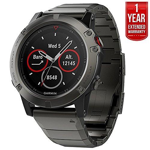 Garmin Fenix 5 Sapphire Multisport 47mm GPS Watch - Slate Gray with Metal Band (010-01688-20) + 1 Year Extended Warranty by Garmin