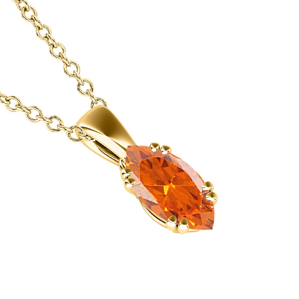 RUDRAFASHION Marquise White Diamond 14k Yellow Gold Over .925 Sterling Silver Pendant Necklace for Her