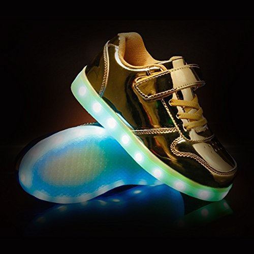 Shiny Charging up Top Colors Low USB Sport Shoes KEALUX Night 7 Sneaker Lace Gold LED 4tpqWdwa