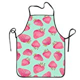 Fully Adjustable Apron Strawberrys Unisex Printed Kitchen Aprons Chef Aprons
