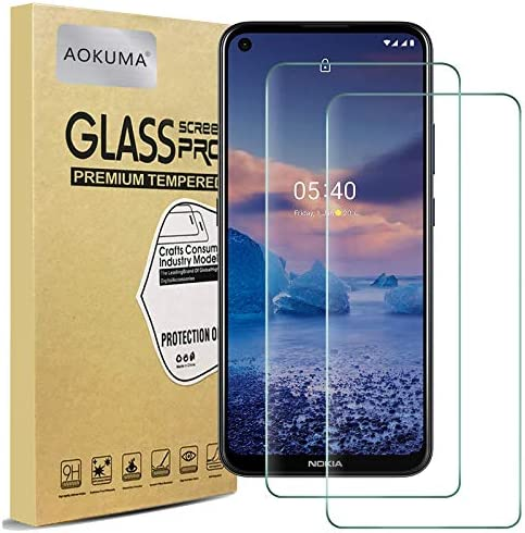 AOKUMA Nokia 54 gehard glas Screen Protector 2 Pack Premium Quality Guard Film Hoesvriendelijk Comfortabele ronde rand breekvast schokbestendig krasbestendig oliebestendig