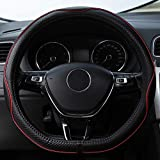 "D Shaped Steering Wheel Covers - Genuine Leather Fit Flat Follow Steering Wheel Cover 14.5""-15"" 131D Red"