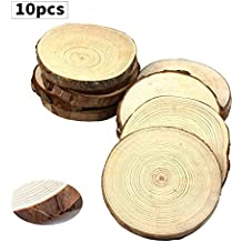 """Fuhaieec 10pcs 4-4.7"""" Unfinished Natural Wood Circles with Tree Bark Log Discs for DIY Craft Christmas Rustic Wedding Ornaments"""
