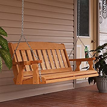 Amish Heavy Duty 800 Lb Mission 5ft. Treated Porch Swing With Cupholders    Cedar Stain