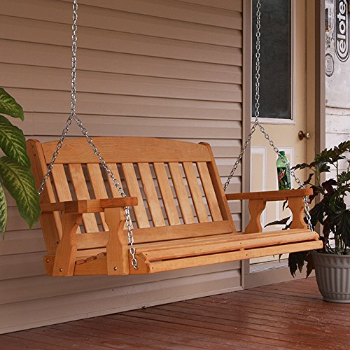 Amish Heavy Duty 800 Lb Mission Treated Porch Swing with Hanging Chains and Cupholders (5 Foot, Cedar Stain)