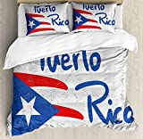 Lunarable Puerto Rico Duvet Cover Set, Hand Drawn Flag and Lettering with Weathered Background, Decorative 3 Piece Bedding Set with 2 Pillow Shams, Queen Size, Cobalt Blue