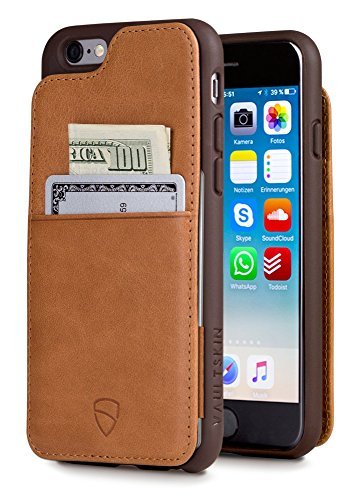 iPhone 6 & 6S Case, Vaultskin Eton Armour iPhone 6 & 6S (4.7) Case Wallet, Slim, Minimalist Genuiner Leather Case - Holds up to 8 Cards/Top Grain Leather (Cognac)