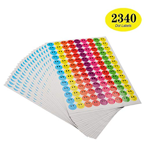 - ONUPGO Pack of 2340 Smiley Face Stickers Happy Face Incentive Stickers Circle Dots Labels, 3/4