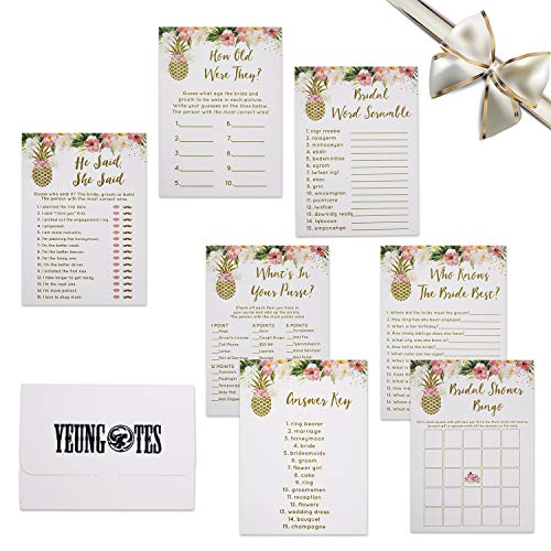 Bridal Shower Games Set, 6 Design 30 Each Sheet Pineapple Floral Games Bundle Pack Include Bridal Shower Bingo, He Said, She Said and Also Perfect to Suit Guest's Bridal Shower Pack