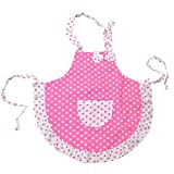 ReFaXi®Lovely Funny Pink Girls Kids Children Polka Dots and Ruffles Aprons with Pocket