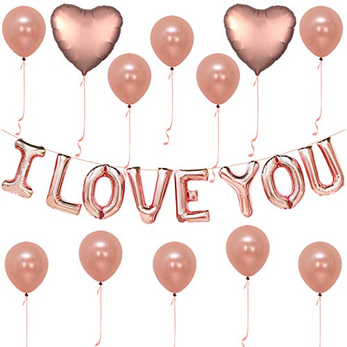 I Love You Balloons, Rose Gold - Pack of 30 - Love Balloons Rose Gold for Valentines Day Decorations - Love Balloon Kit - Pack of 10 Rose Gold Latex -