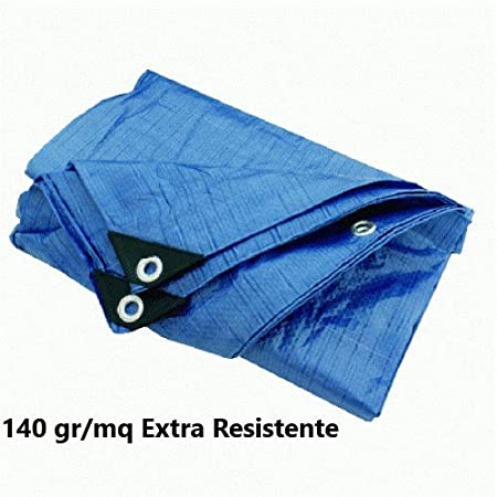 Telo Antistrappo Rinforzato con Occhielli Colore Blu Misura cm 400X500 metri 4X5 Tata Home