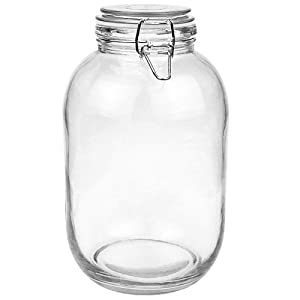 Folinstall 128 FL OZ Round Glass Canning Jar, Wide Mouth Mason jars with Clip Top Lids for Bathroom or Kitchen - Food Storage Containers, Clear, 1 Gallon (Include 1 Piece Replacement Gaskets)