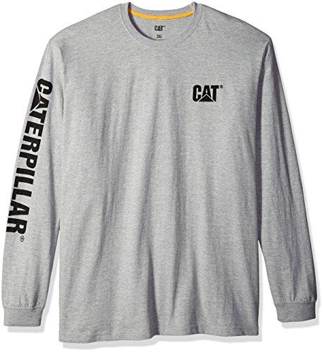 - Caterpillar Men's Big Trademark Banner Long Sleeve T-Shirt (Regular and Big & Tall Sizes), Heather Grey, X Large Tall