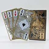 Waterproof Transparent Plastic Poker Gold Edge Playing Cards Dragon Pattern
