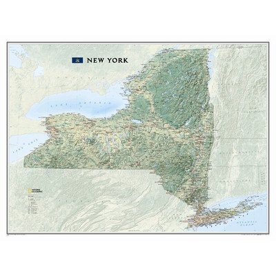 - National Geographic New York State Laminated Wall Map