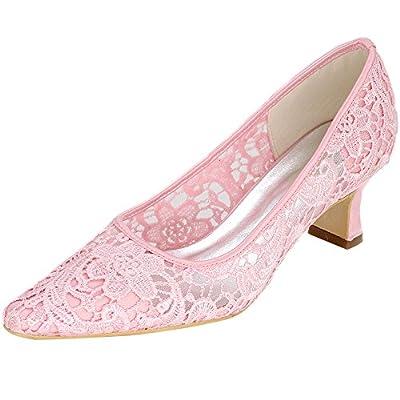 LOSLANDIFEN Womens Mid Heels Elegant Point Toe Pumps Wedding Lace Bridal shoes