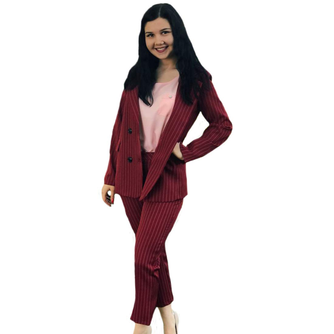 f326a24f18bd Amazon.com: Women Double Breasted Striped Blazer Jacket Zipper Trousers Suit  Work Pant Suits OL 2 Piece Sets Outfits(XL,Red): Clothing