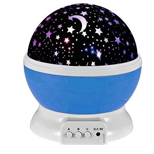 Esonstyle® New Generation 360 Grad Romantische Stimmung Stern-Nachtlicht -Lampen-Raum Rotierende Nachttischlampe für Baby-Kinderzimmer Schlafzimmer Kinderzimmer Kinderzimmer (Blau)