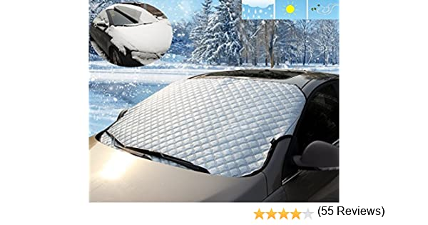 Apex Automotive Winter Windshield Cover for Snow and Ice ! Ice Frost Guard Winter windshield Cover -Windproof Magnetic Edges Sizes for ALL Vehicles No More Scraping Snow