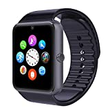 TOP-MAX Smartwatch Black, GT08 Bluetooth Smart Watch with Camera SIM Card Slot for Android Phone IOS iPhone 7 7plus 8 8Plus X(APP NOT COMPATIBLE WITH IOS SYSTEM)