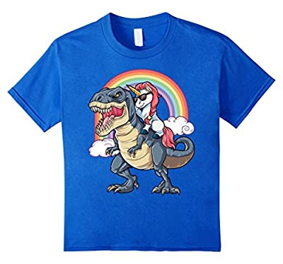 Unicorn Riding Dinosaur T rex T Shirt Unicorns Rainbow Gifts