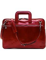 Floto Firenze Slim Briefcase in Tuscan Red Calfskin Leather