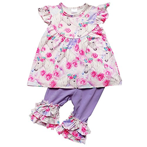 So Sydney Girls Toddler 2-4 Pc Novelty Spring Summer Top Capri Set Accessories (L (5), Unicorn Dreams) ()
