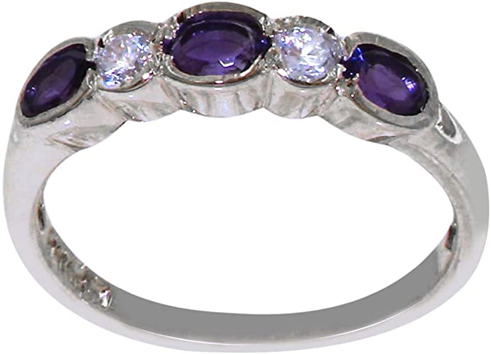 Sizes 4 to 12 925 Sterling Silver Natural Amethyst Womens Solitaire Ring