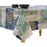 """Elrene Home Fashions Vinyl Tablecloth with Polyester Flannel Backing Paisley Scroll Easy Care Spillproof, 60"""" x120"""", Taupe Blue Green"""