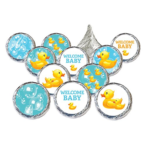 Baby Favors Duck Shower Rubber - Rubber Ducky Bubble Bath Baby Shower Favor Stickers for Hershey Kisses (Set of 324)