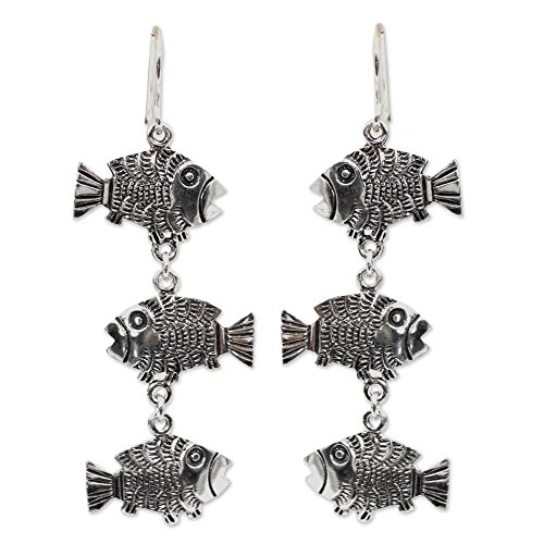 NOVICA .925 Sterling Silver Dangle Earrings 'Thai Fish' (Silver Hook Thai Earrings)