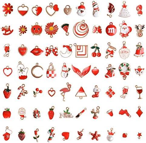 73 stks kerst emaille bedels voor sieraden maken EBANKU rode kleur geassorteerde gouden bedels voor kerst DIY ketting armband oorbellen maken crafting decoratie