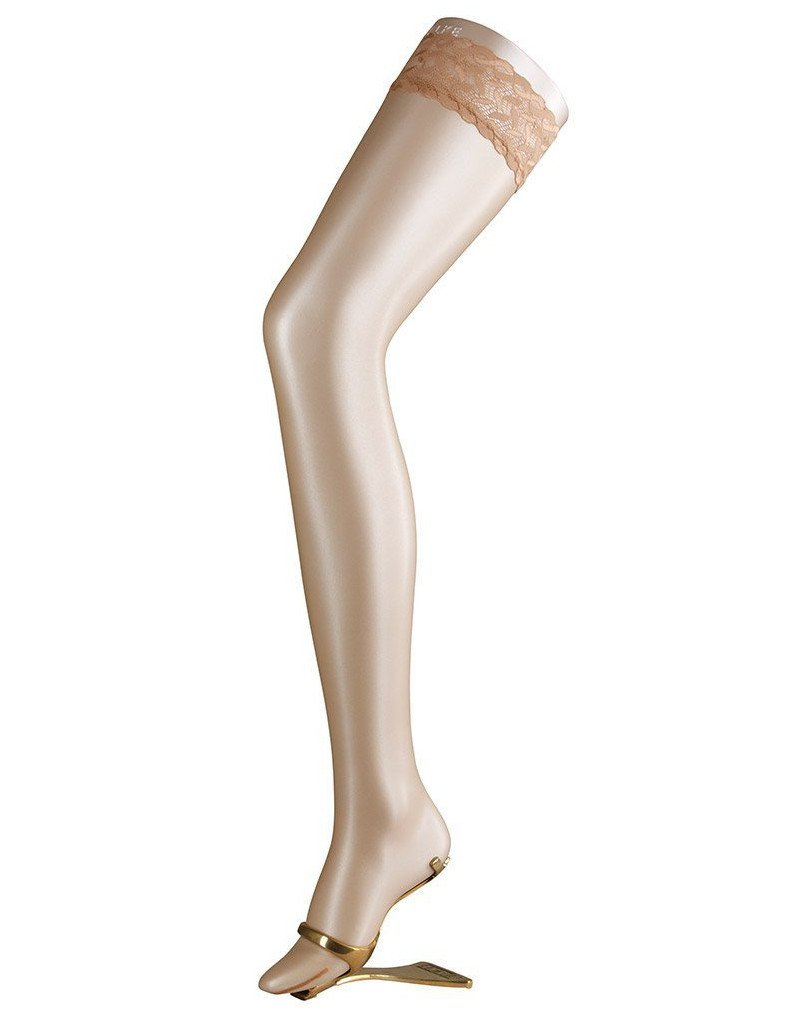 Falke Shelina 12 Denier Shimmer Stay-Up Thigh Highs, Small, Black