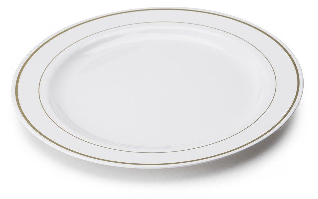 20 Assiettes Mariage Blanches Filets Or Plastique Jetables 23Cm