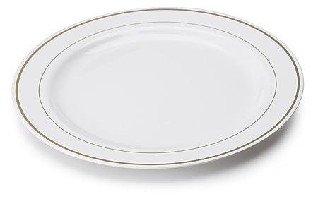 MOZAIK 20 White Gold Rim Plastic Plates 23cm  sc 1 st  Amazon UK & MOZAIK 20 White Gold Rim Plastic Plates 23cm: Amazon.co.uk: Kitchen ...