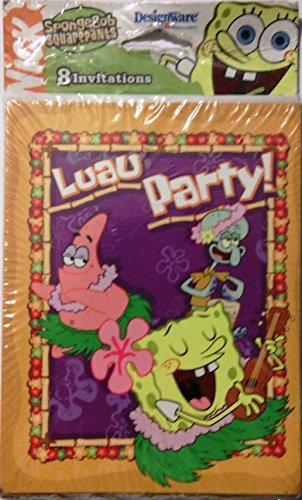 Spongebob Squarepants Party Invitations - Nick Spongebob Squarepants Luau Party Invitations