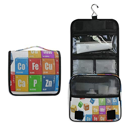 Chemistry Element Education Hanging Travel Toiletry Bag for Women Men | Hygiene Bag | Bathroom and Shower Organizer for Toiletries, Cosmetics, Makeup, Brushes