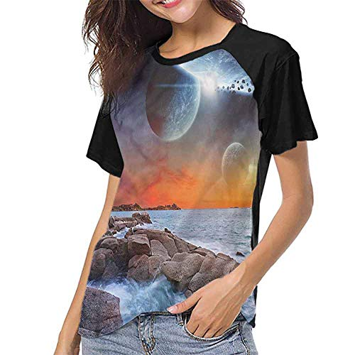 Mangooly Women Print Tees,Galaxy,Planet Landscape View S-XXL O Neck T Shirt Female Tee]()