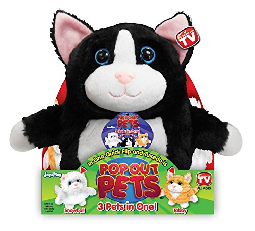 Pop Out Pets Kittens, Reversible Plush Toy, Get 3 Stuffed Animals in One - Tuxedo, Snowball & Tabby Cats, 8 in