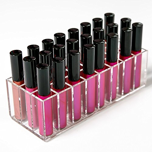 N2 Makeup Co Acrylic Lip Gloss Makeup Organizer - 24 Slot Lipgloss Holder Case for Beauty Storage (Clear) by N2 Makeup Co