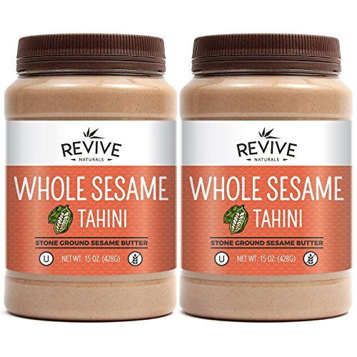 Organic Sesame Butter - Ethiopian Whole Sesame Tahini, Stone-Ground, Organically Grown, Unhulled, Unsalted, Non-GMO, Gluten-Free, Kosher, Vegan, Tree Nut-Free, 15 Ounce (2-Pack), Revive Naturals